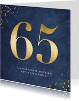 Stijlvolle klassieke verjaardagskaart met gouden leeftijd 65