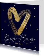 Stijlvolle lieve kerstkaart Big Hug met hart