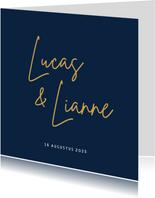 Stijlvolle minimalistische trouwkaart met namen voorop