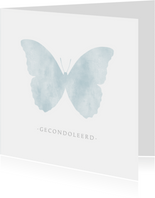 Stijlvolle moderne condoleance kaart met waterverf vlinder