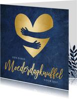 Stijlvolle moederdagkaart met gouden knuffel hart
