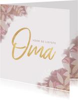 Stijlvolle moederdagkaart voor oma met plantjes en roze