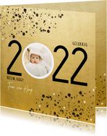 Stijlvolle nieuwjaarskaart 2022 goudlook spetters en foto