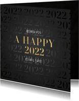 Stijlvolle nieuwjaarskaart a happy 2022 patroon