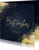 Stijlvolle nieuwjaarskaart best wishes donkerblauw goudlook