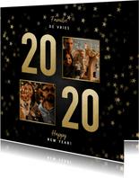Stijlvolle nieuwjaarskaart gouden 2020, sterren en foto's