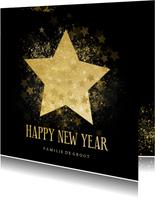 Stijlvolle nieuwjaarskaart gouden ster Happy new Year