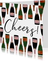 Stijlvolle nieuwjaarskaart met champagneflessen en cheers!