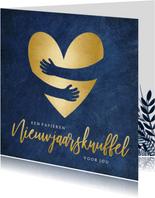 Stijlvolle nieuwjaarskaart - papieren nieuwjaarsknuffel hart
