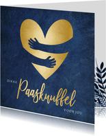 Stijlvolle paasknuffel kaart papieren knuffel met hart
