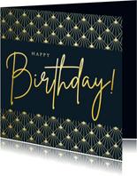 Stijlvolle retro art-deco verjaardagskaart met goud en blauw