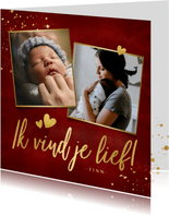 Stijlvolle rode moederdagkaart fotocollage met 2 foto's