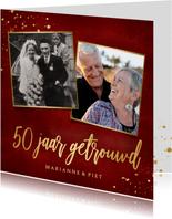 Stijlvolle rode uitnodigingskaart 50 jaar getrouwd met goud
