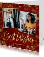 Stijlvolle rode zakelijke kerstkaart Best Wishes met foto's