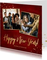 Stijlvolle rode zakelijke nieuwjaarskaart met 2 foto's