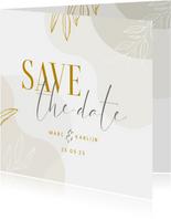Stijlvolle Save the Date kaart met lijntekening van bladeren