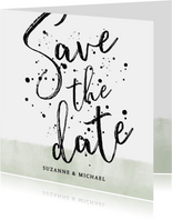 Stijlvolle save the date kaart met waterverf en typografie