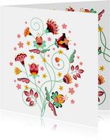 Stijlvolle, sierlijke en kleurrijke bloemenkaart