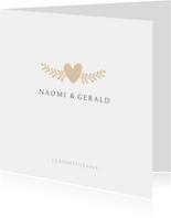 Stijlvolle simpele vierkante uitnodiging huwelijk met hartje