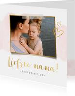 Stijlvolle trendy moederdagkaart met waterverf en goud