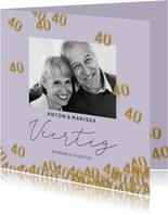 Stijlvolle uitnodiging huwelijk jubileum 40 jaar confetti