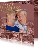 Stijlvolle uitnodiging jubileum bloemen, foto en typografie