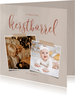 Stijlvolle uitnodiging kerstborrel in roségoud en 2 foto's