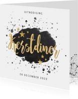 Stijlvolle uitnodiging kerstdiner zwarte verf & gouden tekst