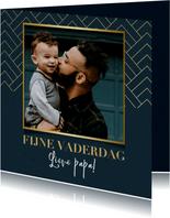 Stijlvolle vaderdag kaart met foto, blauw en gouden patroon