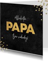 Stijlvolle vaderdag kaart zwarte achtergrond gouden papa