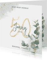 Stijlvolle verjaardagskaart 50 jaar eucalyptus en waterverf