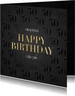 Stijlvolle verjaardagskaart 50 jaar gouden Happy Birthday!