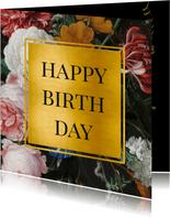 Stijlvolle verjaardagskaart bloemen en goud Jan Davidsz
