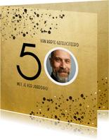 Stijlvolle verjaardagskaart goud spetters 50 met foto