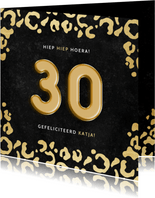 Stijlvolle verjaardagskaart gouden panterprint & folieballon