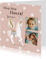 Stijlvolle verjaardagskaart met circuspaard, foto's en ster