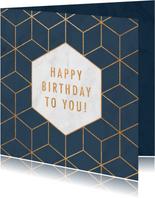 Stijlvolle verjaardagskaart met geometrisch patroon & marmer