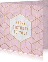 Stijlvolle verjaardagskaart met gouden patroon en marmer