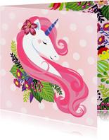 Stijlvolle verjaardagskaart met unicorn en bloemen