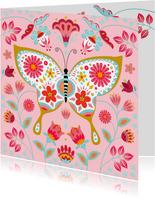 Stijlvolle verjaardagskaart met vlinder, bloemen en planten