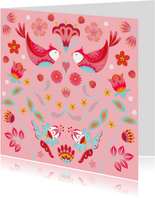 Stijlvolle verjaardagskaart met vogels en bloemen