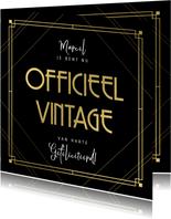 Stijlvolle verjaardagskaart officieel vintage, zwart en goud