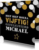 Stijlvolle verjaardagskaart 'vijftig' met grijze confetti