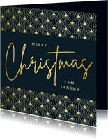 Stijlvolle vierkante art-deco kerstkaart met goud en blauw