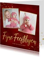 Stijlvolle vierkante rode kerstkaart eigen foto's en goud