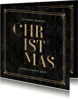 Stijlvolle, vintage kerstkaart met patroon en 'Christmas'
