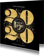 Stijlvolle zakelijke kerstkaart gouden 2020, logo & spetters