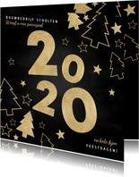 Stijlvolle zakelijke kerstkaart gouden kerstbomen en sterren