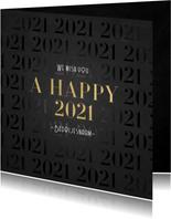 Stijlvolle zakelijke nieuwjaarskaart 2021 patroon met goud