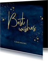 Stilvolle geschäftliche Weihnachtskarte best wishes & Sterne